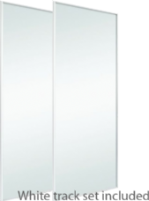 Classic White Frame Mirror Door & Track Set To Suit An Opening Of 1498MM